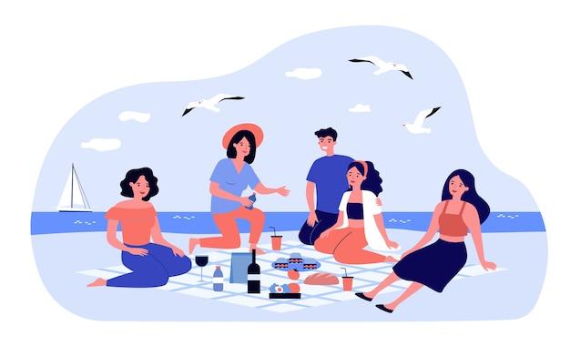 Freunde genießen picknick auf see. gruppe glücklicher leute, die am strand mit essen und getränken auf plaid sitzen. illustration für freizeit-, sommer-, küstenkonzepte