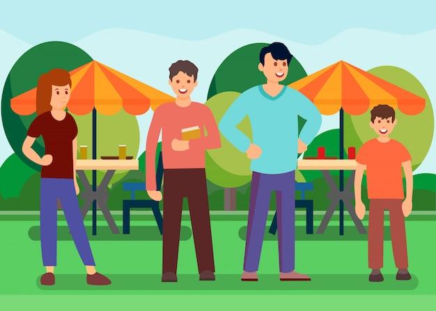 Freunde in der im freiennahrungsmittelgericht-vektor-illustration