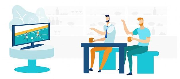 Freunde in der sportbar flat vector illustration