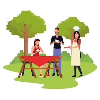 Freunde in einer picknickzeit