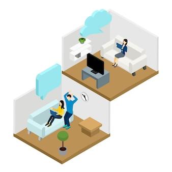 Freunde-kommunikations-illustration