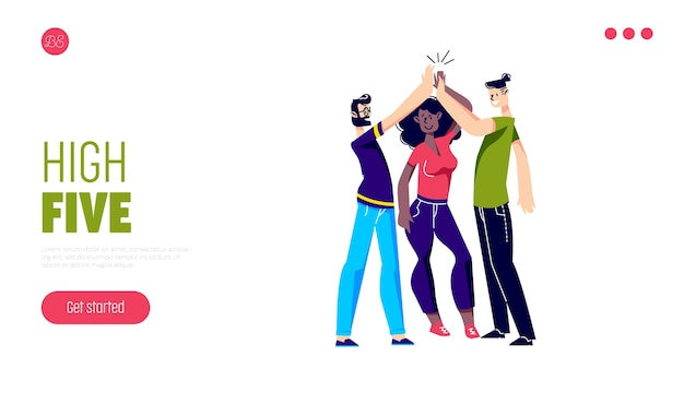 Freunde kommunizieren, helfen und unterstützen landingpage mit leuten, die high five geben.