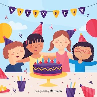 Freunde mit Geburtstagskuchenhintergrund