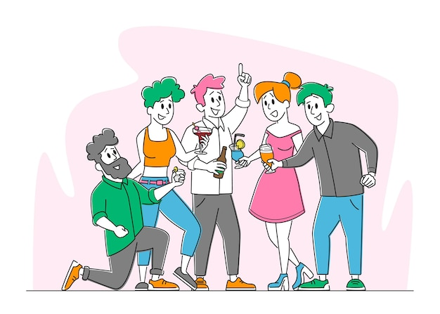 Freunde party mit getränken, freundschaftskonzept
