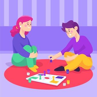 Freunde spielen ludo-spiel zu hause