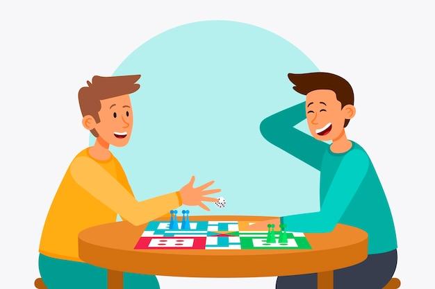 Freunde spielen ludo-spiel