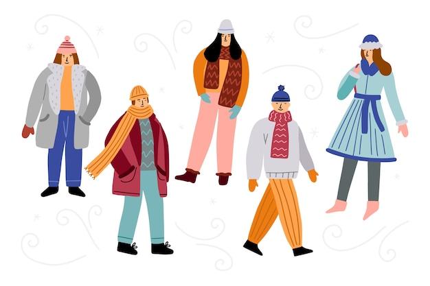 Freunde tragen winterkleidung