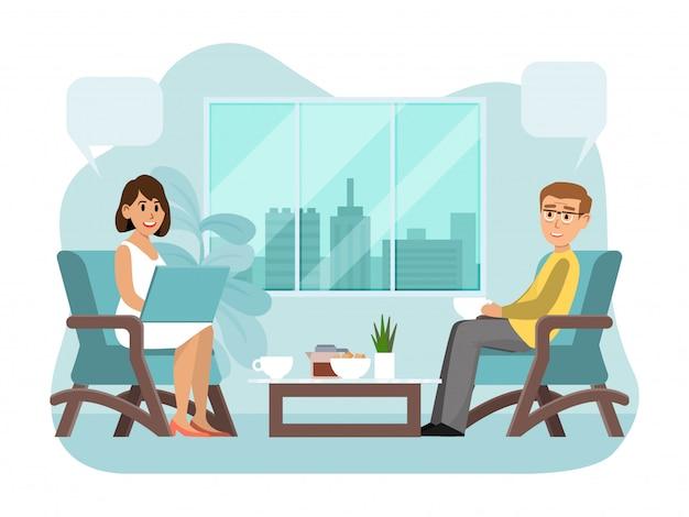 Freunde treffen sich auf freundschaftlichem abendessen, leute, die gemütliches café, das auf weißer, flacher illustration isoliert plaudert. charakter sitzt mit chatbox.