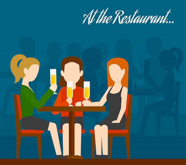 Freunde treffen sich im restaurant