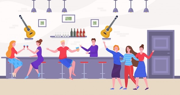 Freunde und leute an der bar trinken und haben spaß, tanzende karikaturillustration.