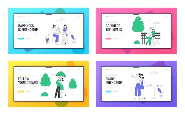 Freunde und liebespaar verbringen zeit miteinander website landing page set. Premium Vektoren