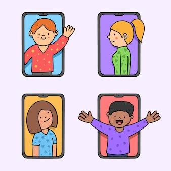 Freunde videoanruf auf smartphones hand gezeichnete illustration