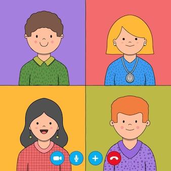 Freunde videoanruf hand gezeichnete illustration