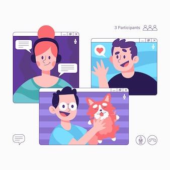 Freunde videoanruf illustration mit telefon