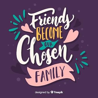 Freunde werden zu unserer auserwählten familienschrift