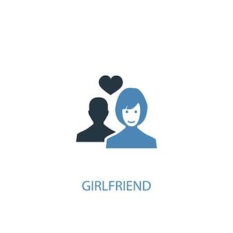 Freundin konzept 2 farbiges symbol. einfache blaue elementillustration. freundin konzept symbol design. kann für web- und mobile ui/ux verwendet werden