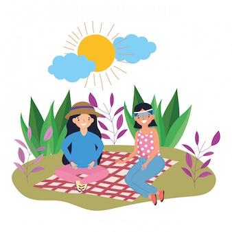 Freundinnen beim picknick