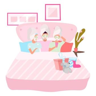 Freundinnen, die gesichtsmaskenillustration anwenden. schlaf, übernachtungsparty-konzept. beste freundinnen, die zusammen in pyjama-zeichentrickfiguren schlafen. junge frauen, jugendliche, studenten