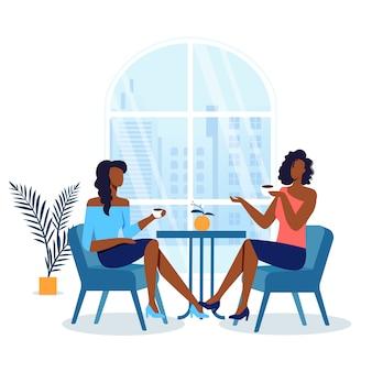 Freundinnen, die in der café-illustration sich treffen