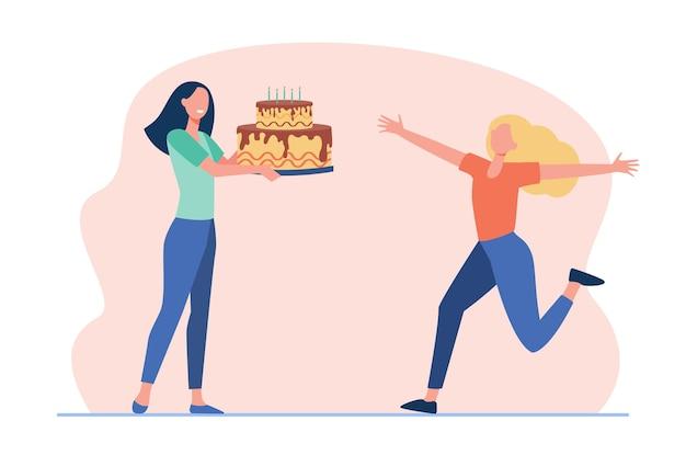Freundinnen feiern geburtstag. fröhliches mädchen, das großen kuchen mit kerzen erhält. karikaturillustration