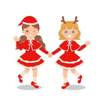Freundinnen feiern weihnachten zusammen im niedlichen kostümkleid. händchen halten. flacher cartoon lokalisiert auf weißem hintergrund.