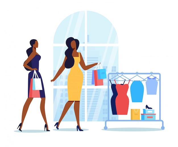 Freundinnen gehen flach einkaufen