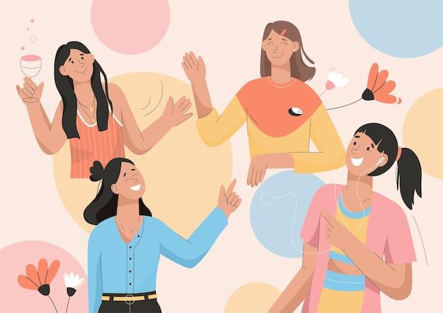 Freundinnen haben spaß auf der party, freunde treffen sich