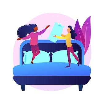 Freundinnen im pyjama auf junggesellenabschied, übernachtung, pyjama-party, übernachtungsspaß. aktivität im kindesalter. fröhliche teenager-mädchen und kissen.