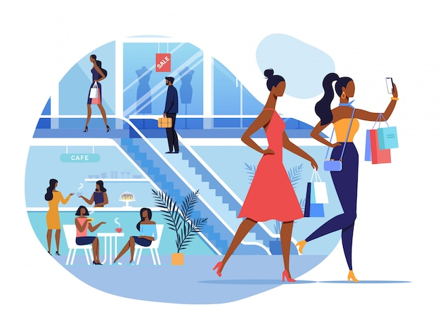 Freundinnen in der einkaufszentrum-illustration