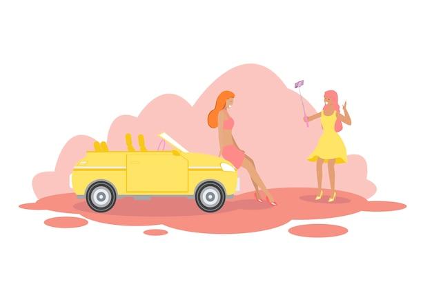 Freundinnen stehen am modernen gelben cabriolet-auto