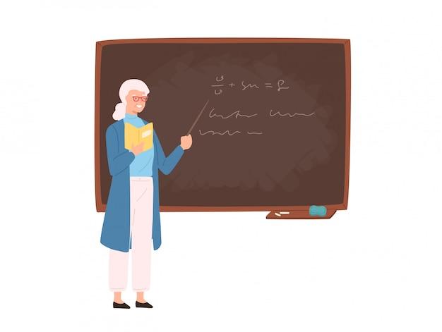 Freundliche ältere weibliche schul- oder hochschullehrerin, professorin, erzieherin, die neben tafel steht, zeiger hält und unterrichtet. bunte vektorillustration im flachen karikaturstil.