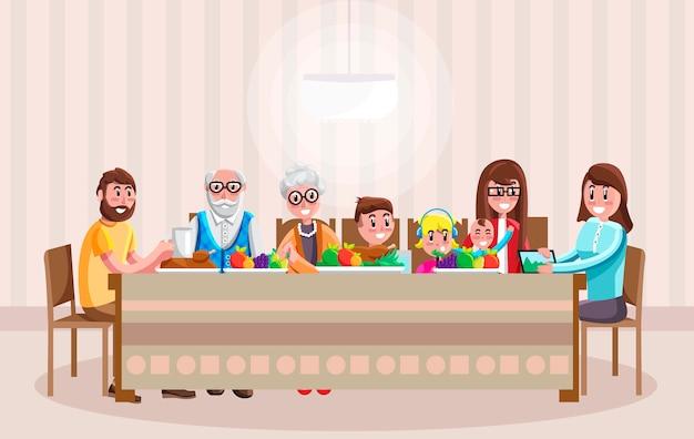 Freundliche karikaturfamilie, die zu abend isst