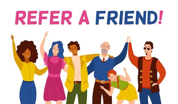 Freundliche lächelnde personengruppe, die neuen benutzer verweist.