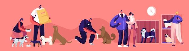 Freundliche menschen helfen obdachlosen tieren. männer und frauen, die haustiere aus dem tierheim adoptieren, heilen und hunde füttern. pfund-, rehabilitations- oder adoptionszentrum für streunende haustiere konzept. flache vektorillustration der karikatur