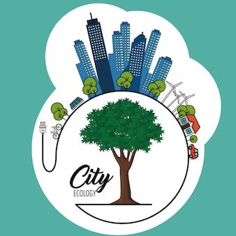 Freundliche stadt eco mit windturbinenbaum und elektrischem stecker über aquamariner hintergrundvektorillustration