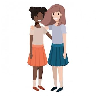 Freundliche teenager ethnicity mädchen charaktere