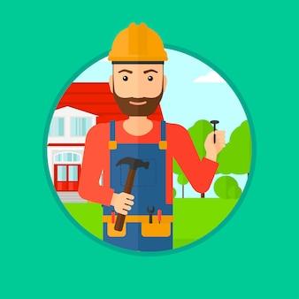 Freundlicher erbauer mit hammer.