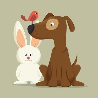 Freundlicher hund hase vogel maskottchen
