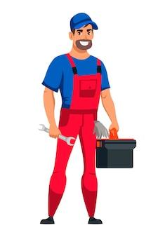 Freundlicher lächelnder mannautomechanikercharakter, der uniform hält werkzeugkasten und schraubenschlüssel in der hand steht lokalisiert auf weiß