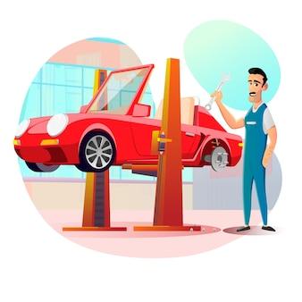 Freundlicher lächelnder mechaniker und auto, das am aufzug hängt