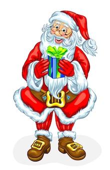 Freundlicher weihnachtsmann mit geschenkbox. vektor-illustration