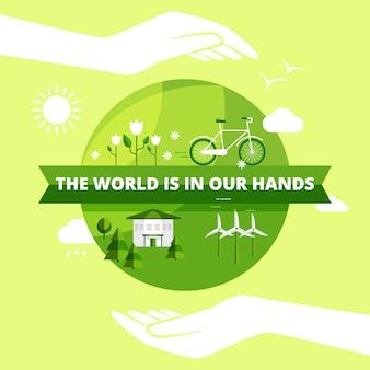 Freundliches design der ökologie mit welt in den händen sonne und wolken