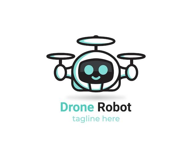 Freundliches drohnen-roboter-logo