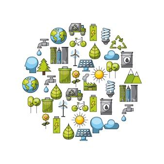 Freundliches in verbindung stehendes ikonenbild eco