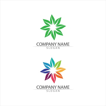 Freundliches konzept des baumblatts und des grünen logos