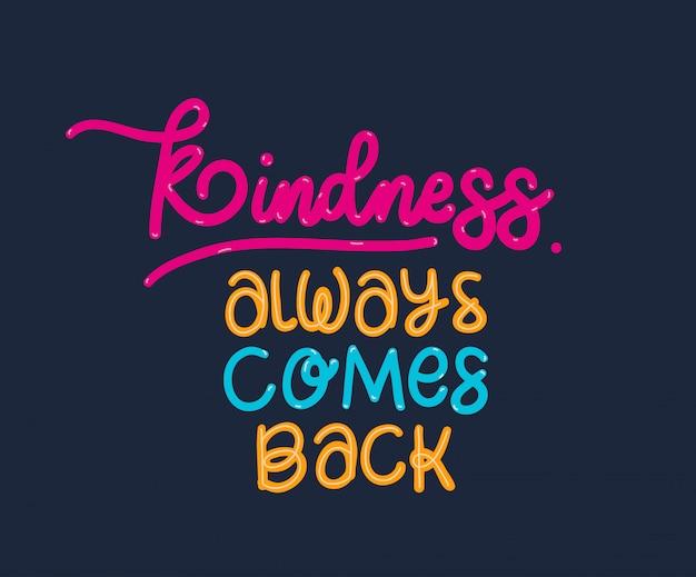 Freundlichkeit kommt immer wieder schriftzug