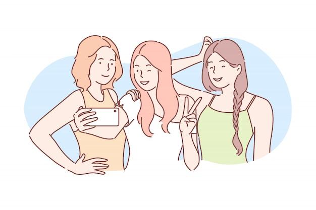 Freundschaft, foto, selfie, kommunikationskonzept