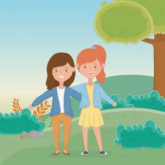 Freundschaft von mädchen cartoons design
