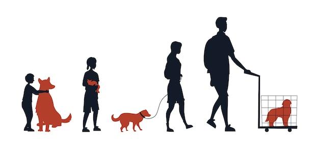 Freundschaft zwischen tieren und menschen. gruppe von silhouetten menschen mit kindern mit ihren haustieren. die leute kümmern sich um haustiere. mann trägt hund im käfig.