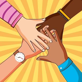 Freundschaftshände, die zusammen zeichnen